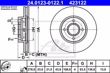 Вентилируемый тормозной диск на FORD TOURNEO COURIER 'ATE 24.0123-0122.1'.