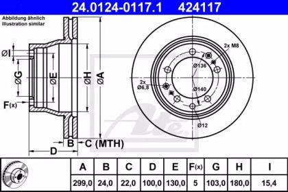 Вентилируемый тормозной диск на Порше 944 'ATE 24.0124-0117.1'.