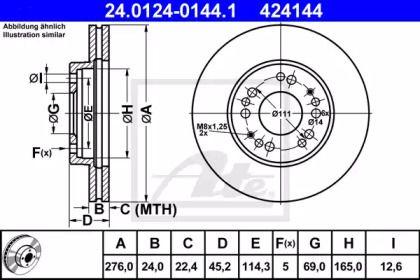 Вентилируемый тормозной диск на MITSUBISHI SIGMA 'ATE 24.0124-0144.1'.