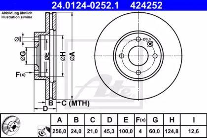 Вентилируемый тормозной диск на CHEVROLET COBALT 'ATE 24.0124-0252.1'.