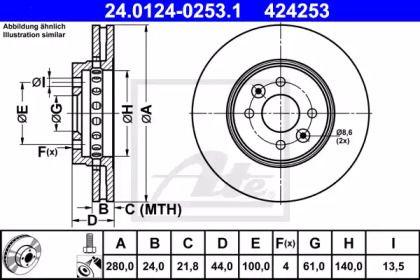Вентилируемый тормозной диск на RENAULT DOKKER 'ATE 24.0124-0253.1'.