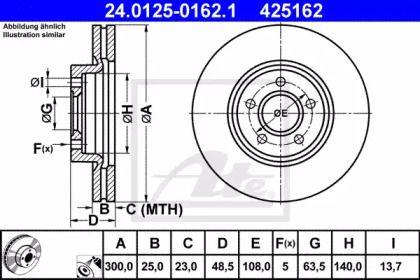 Вентилируемый тормозной диск на Форд Гранд С-макс 'ATE 24.0125-0162.1'.