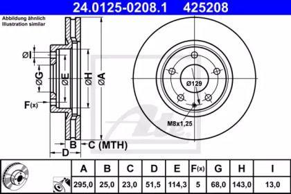 Вентилируемый тормозной диск на Мазда СХ3 'ATE 24.0125-0208.1'.