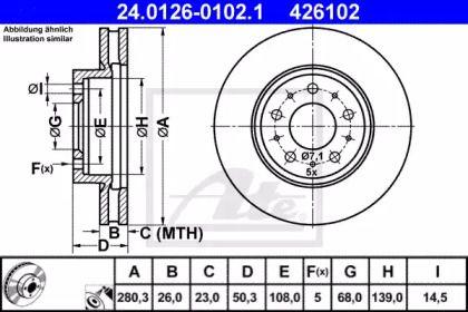 Вентилируемый тормозной диск на VOLVO S90 'ATE 24.0126-0102.1'.