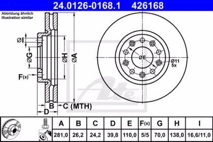 Вентилируемый тормозной диск на Джип Ренегат 'ATE 24.0126-0168.1'.