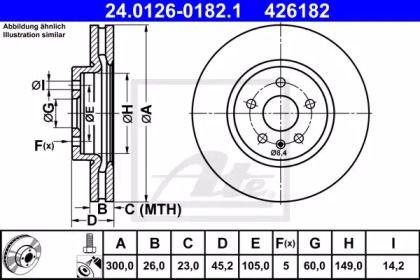 Вентилируемый тормозной диск на Опель Мокка 'ATE 24.0126-0182.1'.