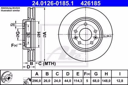 Вентилируемый тормозной диск на RENAULT KADJAR 'ATE 24.0126-0185.1'.