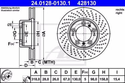 Тормозной диск на PORSCHE 911 'ATE 24.0128-0130.1'.