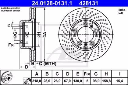 Тормозной диск на Порше 911 'ATE 24.0128-0131.1'.