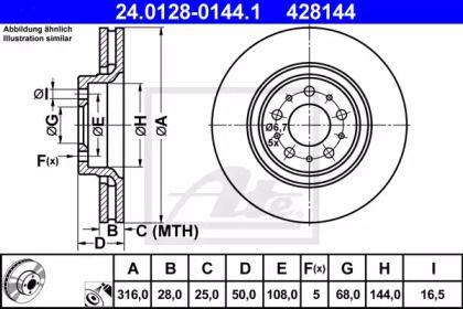 Вентилируемый тормозной диск на VOLVO XC90 'ATE 24.0128-0144.1'.