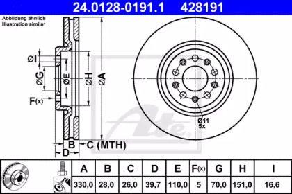 Вентилируемый тормозной диск на Альфа Ромео Брера ATE 24.0128-0191.1.