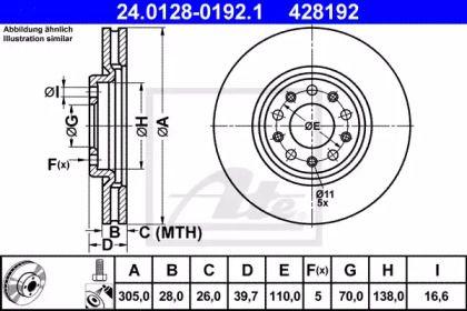 Вентилируемый тормозной диск 'ATE 24.0128-0192.1'.