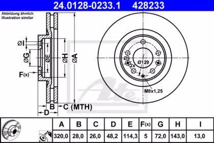 Вентилируемый тормозной диск на MAZDA CX-9 'ATE 24.0128-0233.1'.