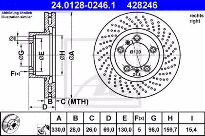 Тормозной диск на PORSCHE 718 'ATE 24.0128-0246.1'.