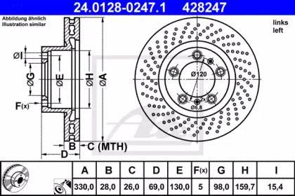 Тормозной диск на Порше 718 'ATE 24.0128-0247.1'.