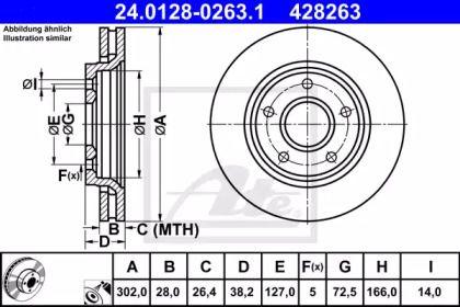 Вентилируемый тормозной диск на Фиат Фримонт 'ATE 24.0128-0263.1'.