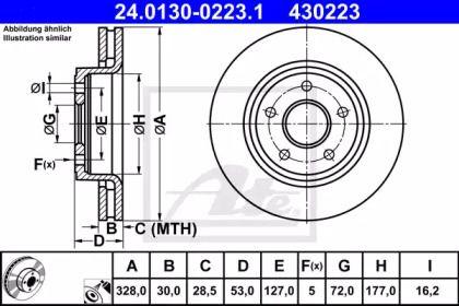 Вентилируемый тормозной диск на JEEP COMMANDER 'ATE 24.0130-0223.1'.