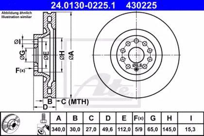 Вентилируемый тормозной диск 'ATE 24.0130-0225.1'.