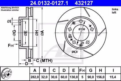 Вентилируемый тормозной диск с насечками С перфорацией на Порше 928 'ATE 24.0132-0127.1'.