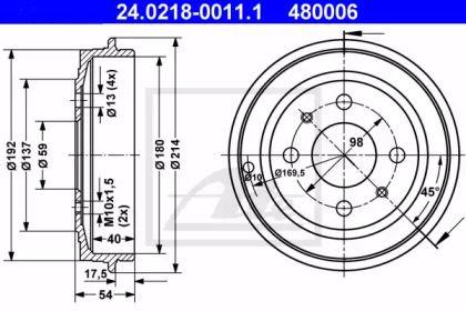 Тормозной барабан на Фиат Пунто 'ATE 24.0218-0011.1'.