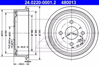 Тормозной барабан 'ATE 24.0220-0001.2'.