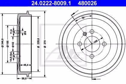 Тормозной барабан 'ATE 24.0222-8009.1'.