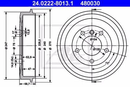 Тормозной барабан 'ATE 24.0222-8013.1'.