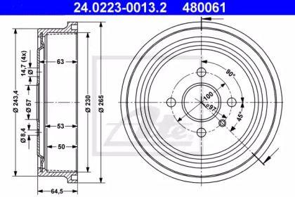 Тормозной барабан 'ATE 24.0223-0013.2'.