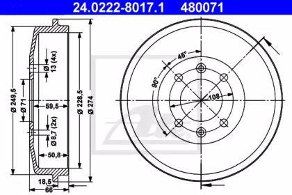 Тормозной барабан на CITROEN C15 'ATE 24.0222-8017.1'.