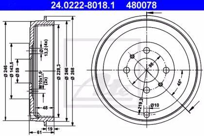Тормозной барабан на FIAT LINEA 'ATE 24.0222-8018.1'.