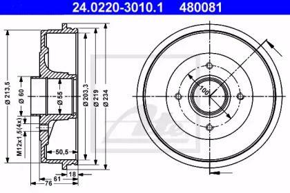 Тормозной барабан на NISSAN KUBISTAR 'ATE 24.0220-3010.1'.