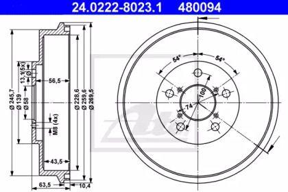Тормозной барабан на Субару Легаси 'ATE 24.0222-8023.1'.