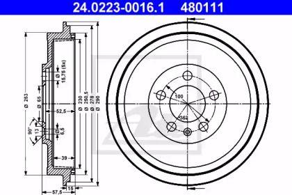 Тормозной барабан на Шкода Октавия Тур 'ATE 24.0223-0016.1'.
