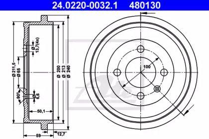 Тормозной барабан на Фольксваген Лупо 'ATE 24.0220-0032.1'.