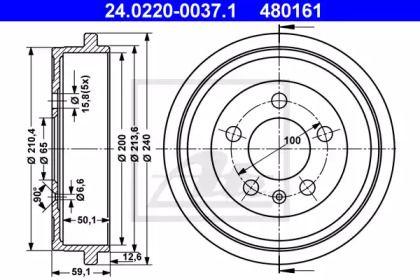 Тормозной барабан на AUDI A2 'ATE 24.0220-0037.1'.