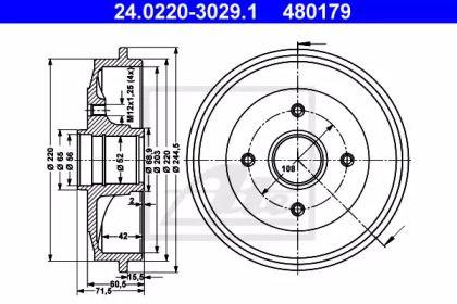 Тормозной барабан на Ситроен С2 ATE 24.0220-3029.1.