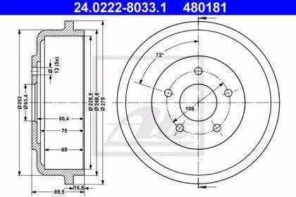 Тормозной барабан на Форд Транзит Конект 'ATE 24.0222-8033.1'.