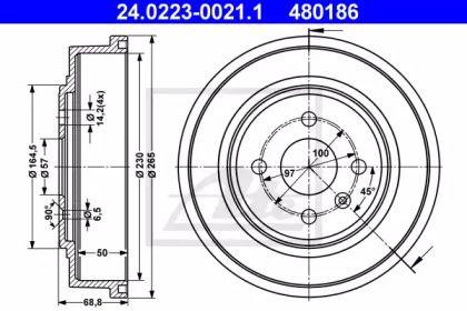 Тормозной барабан 'ATE 24.0223-0021.1'.