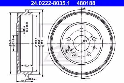 Тормозной барабан 'ATE 24.0222-8035.1'.
