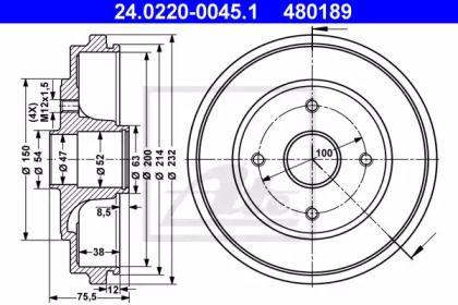 Тормозной барабан 'ATE 24.0220-0045.1'.
