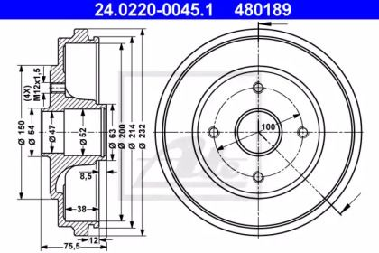 Тормозной барабан на OPEL AGILA 'ATE 24.0220-0045.1'.