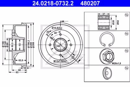 Тормозной барабан на RENAULT 11 'ATE 24.0218-0732.2'.