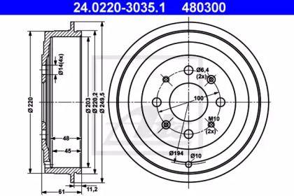 Тормозной барабан 'ATE 24.0220-3035.1'.