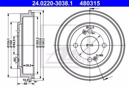 Тормозной барабан 'ATE 24.0220-3038.1'.