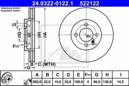Вентилируемый тормозной диск на BMW Z1 'ATE 24.0322-0122.1'.