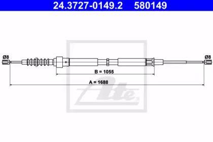 Трос ручника 'ATE 24.3727-0149.2'.