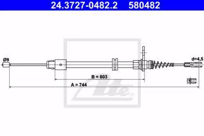 Трос ручного гальма на Mercedes-Benz GLK  ATE 24.3727-0482.2.