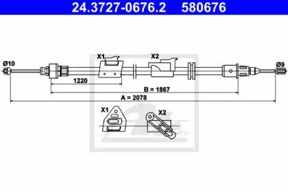 Трос ручника 'ATE 24.3727-0676.2'.