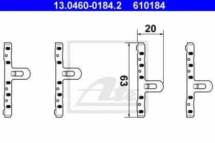 Скобы тормозных колодок на VOLKSWAGEN JETTA 'ATE 13.0460-0184.2'.