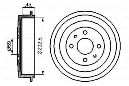 Тормозной барабан на FIAT QUBO 'BOSCH 0 986 477 109'.